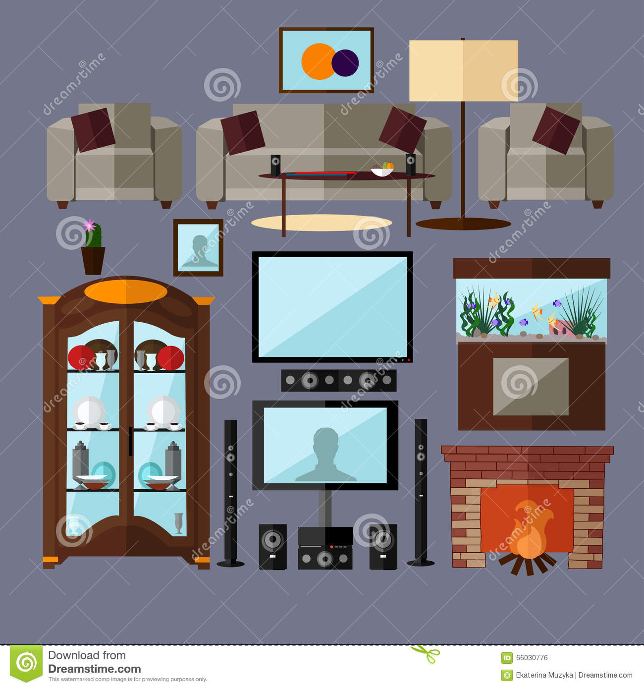 Furniture Ideas For Living Room Stock Vector: Living Room Interior With Furniture. Concept Vector