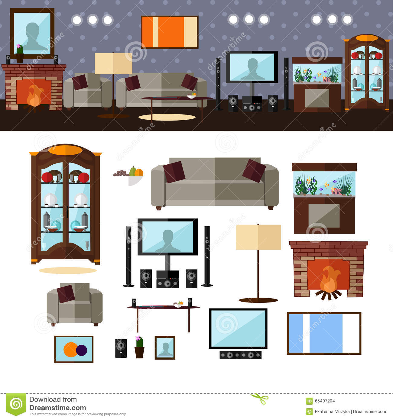 Living Room Interior With Furniture Vector Stock Vector