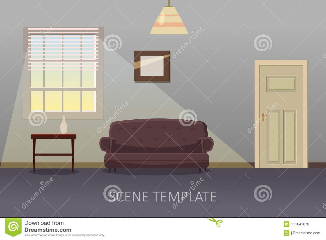 living room interior with furniture vector illustration in cartoon