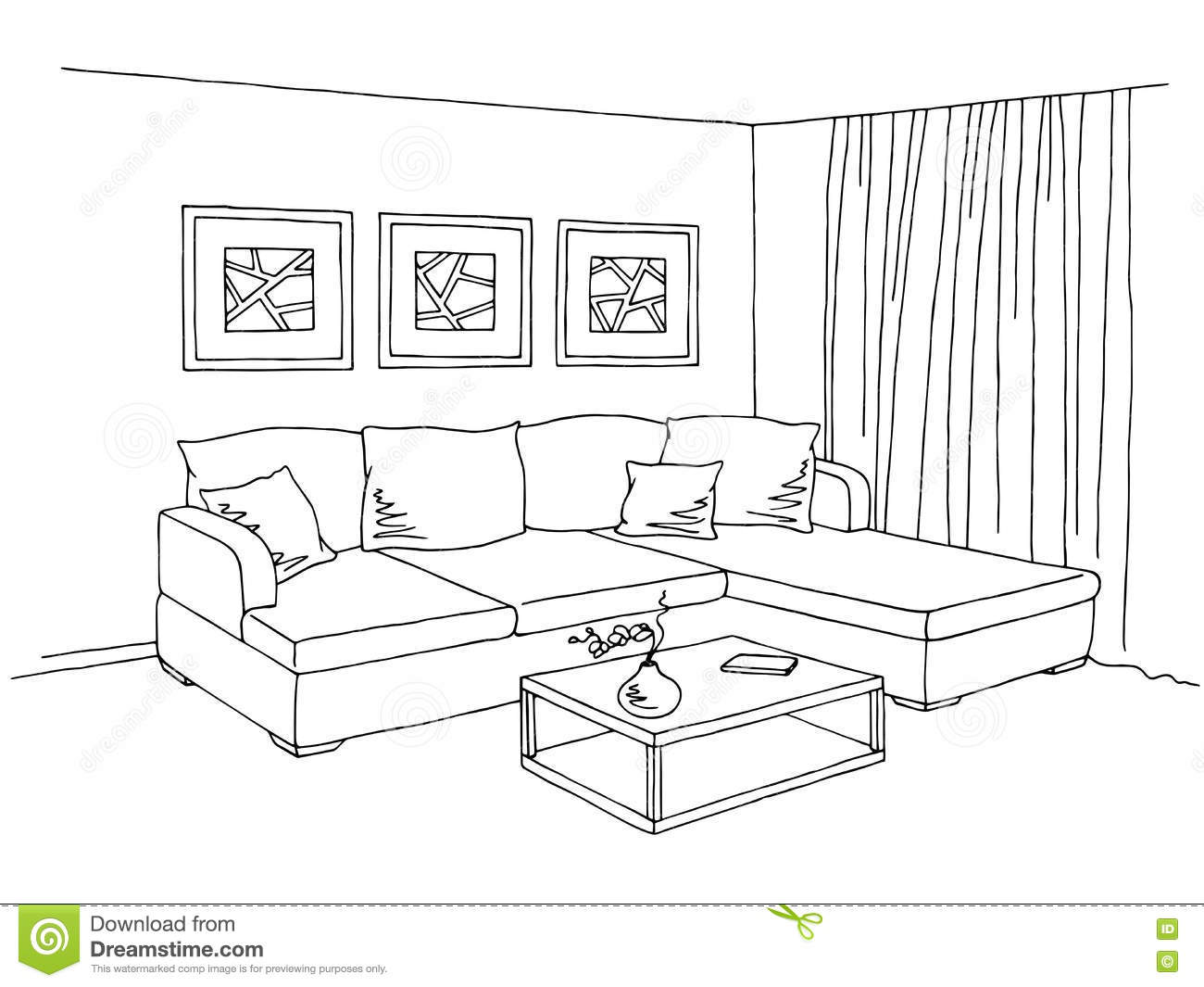 Living Room Interior Graphic Black White Sketch Illustration Stock