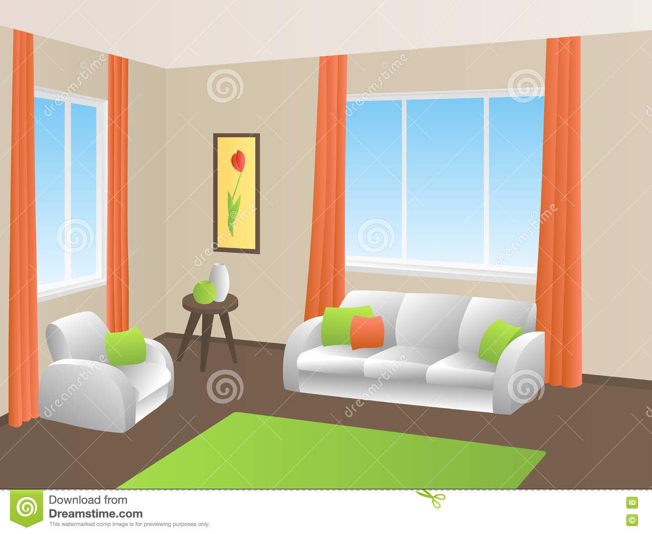 living room interior green orange yellow white sofa armchair