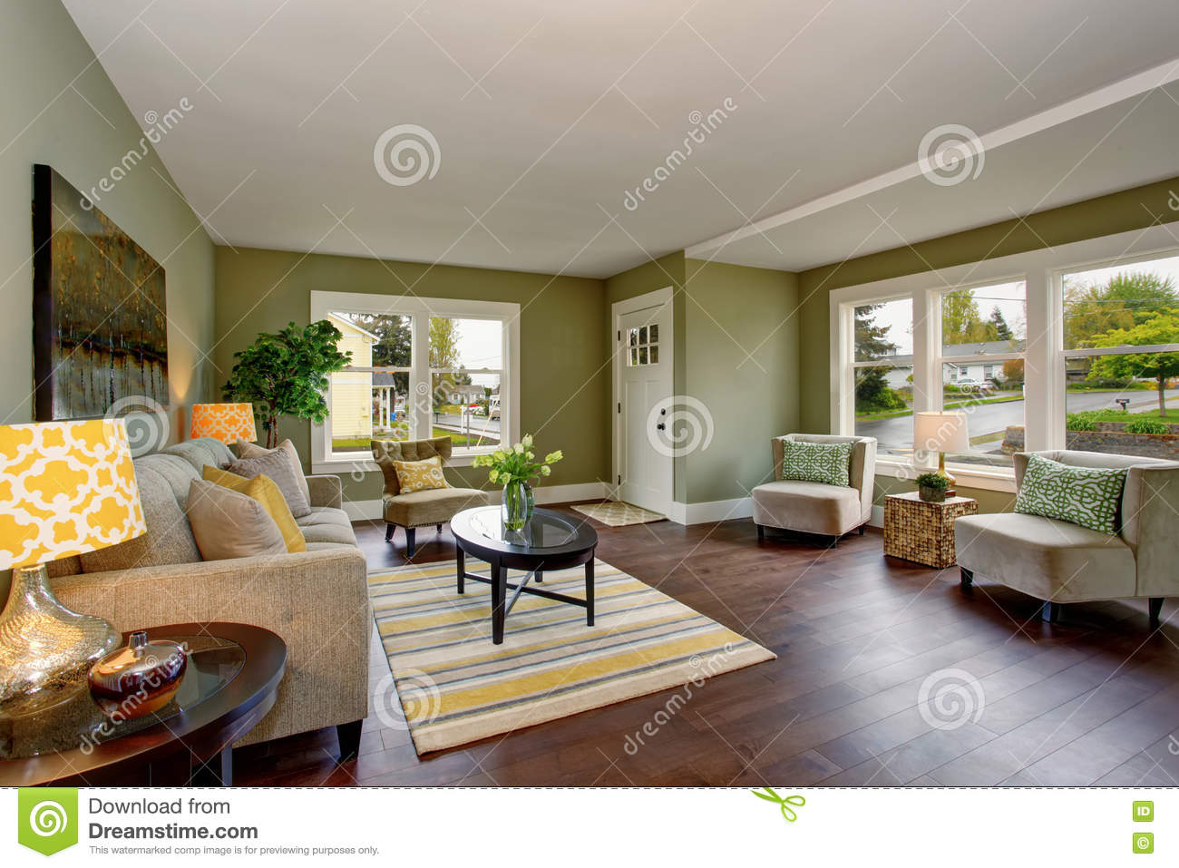 Living Room Interior With Green Walls Hardwood Floor And