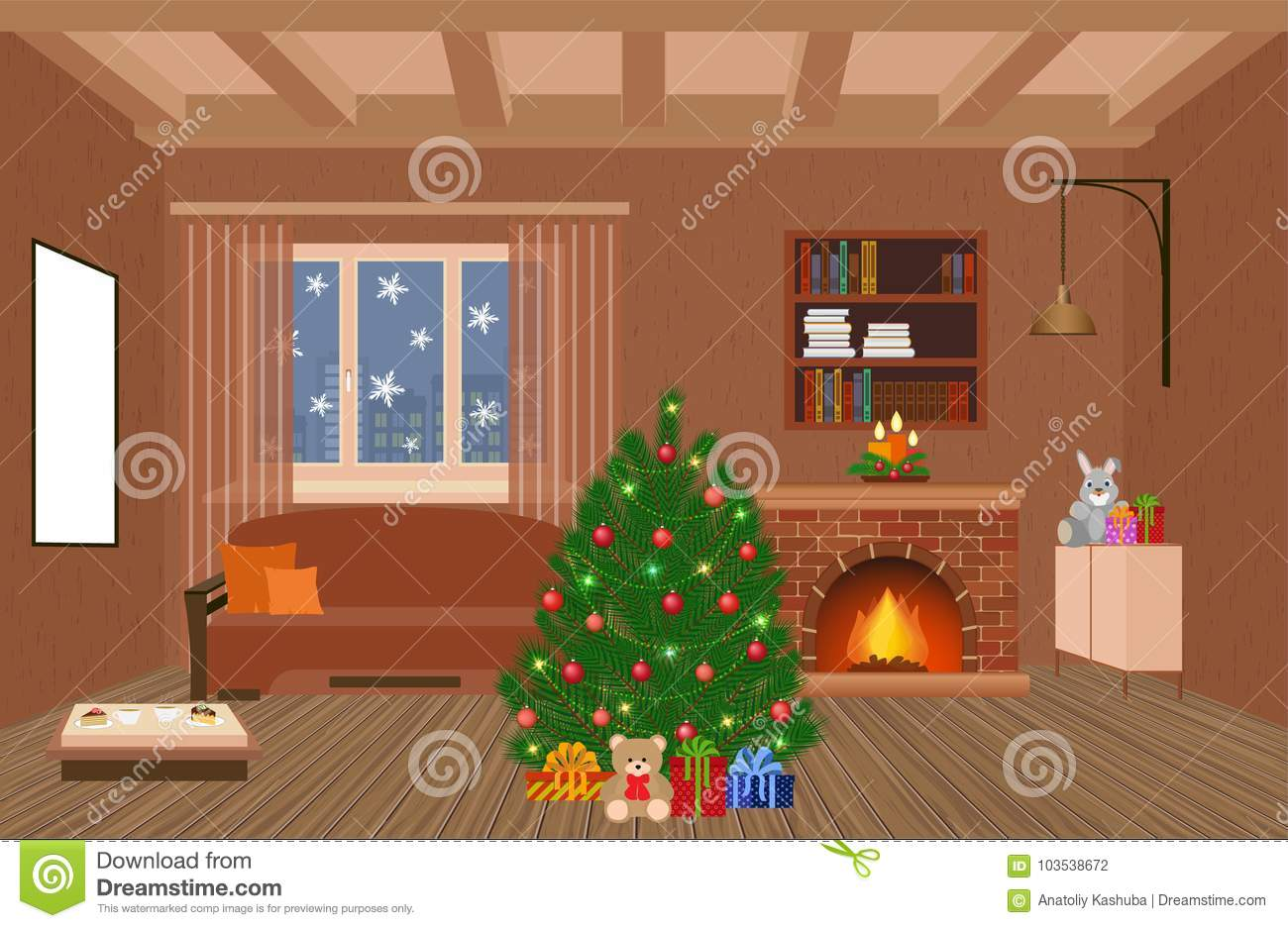 Living Room Interior Holiday Design With Fireplace