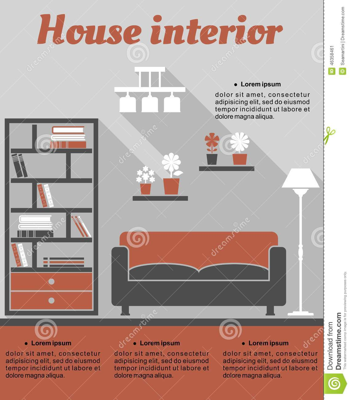 living room template living room interior infographic template stock vector 11250