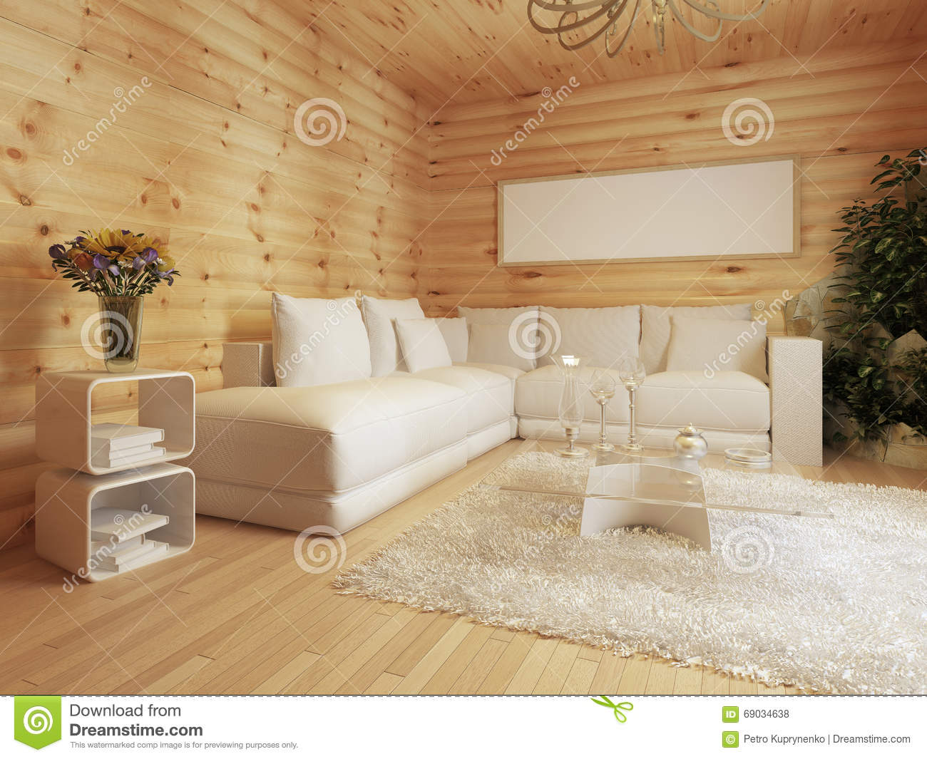 Living room interior in a log house