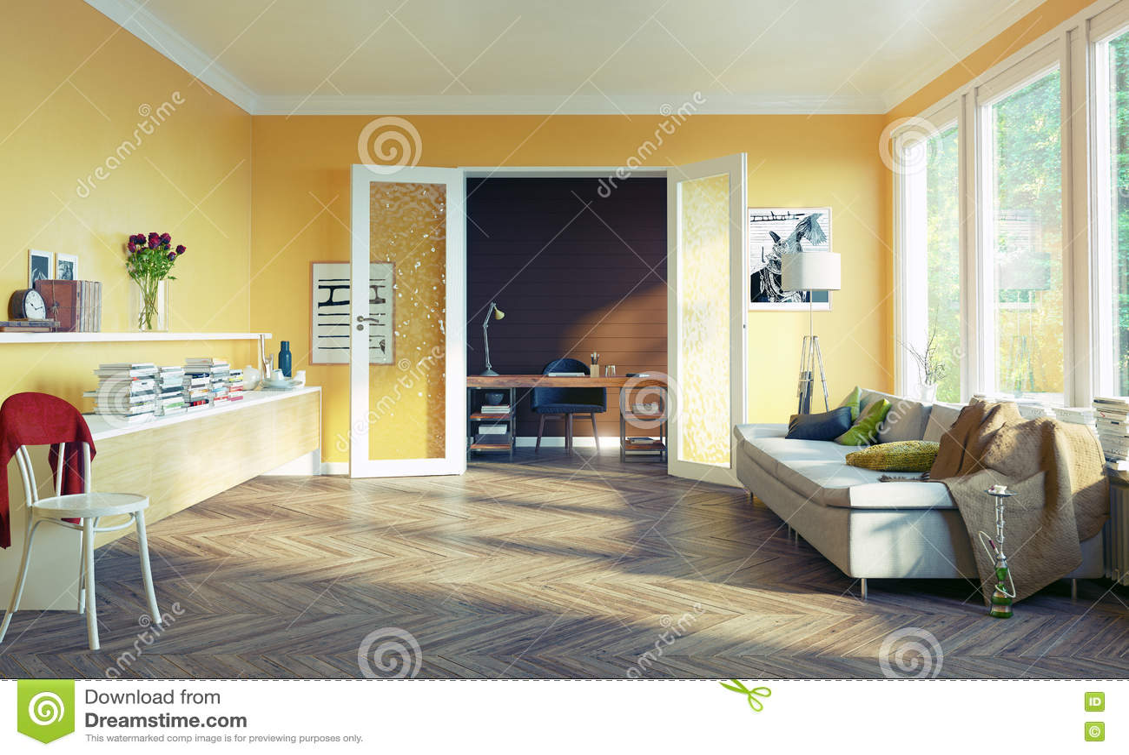 Living room interior stock illustration image 70196255