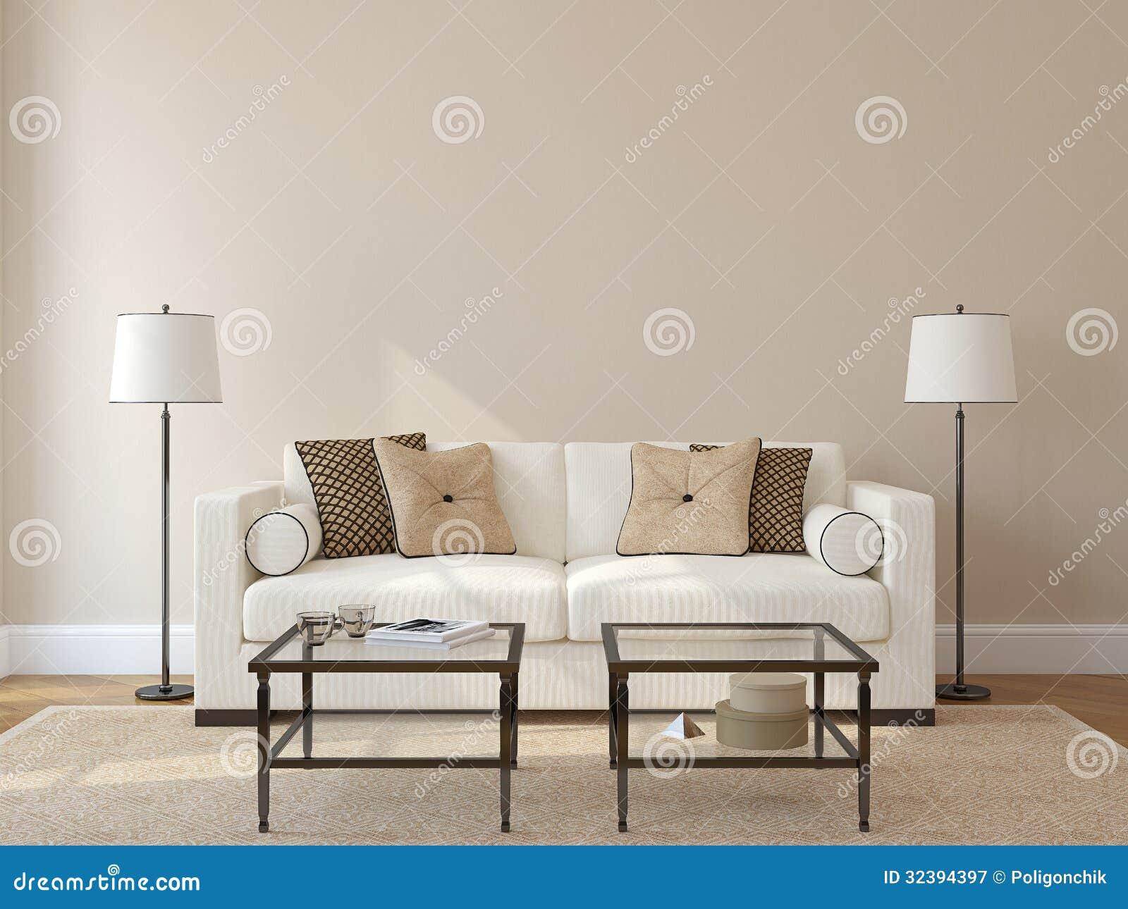 Living-room interior. stock illustration. Illustration of beige ...