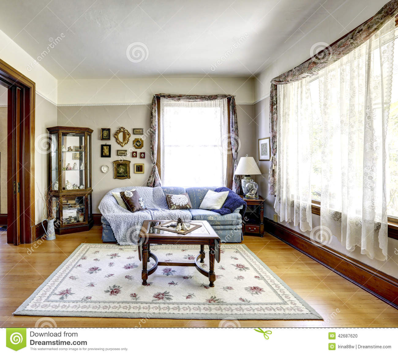 Living Room Interior In Old American House Stock Photo - Image of ...