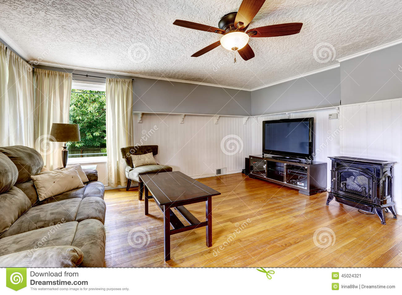 Living Room Interior In Old House Comfortable Sofa With Wooden Coffee