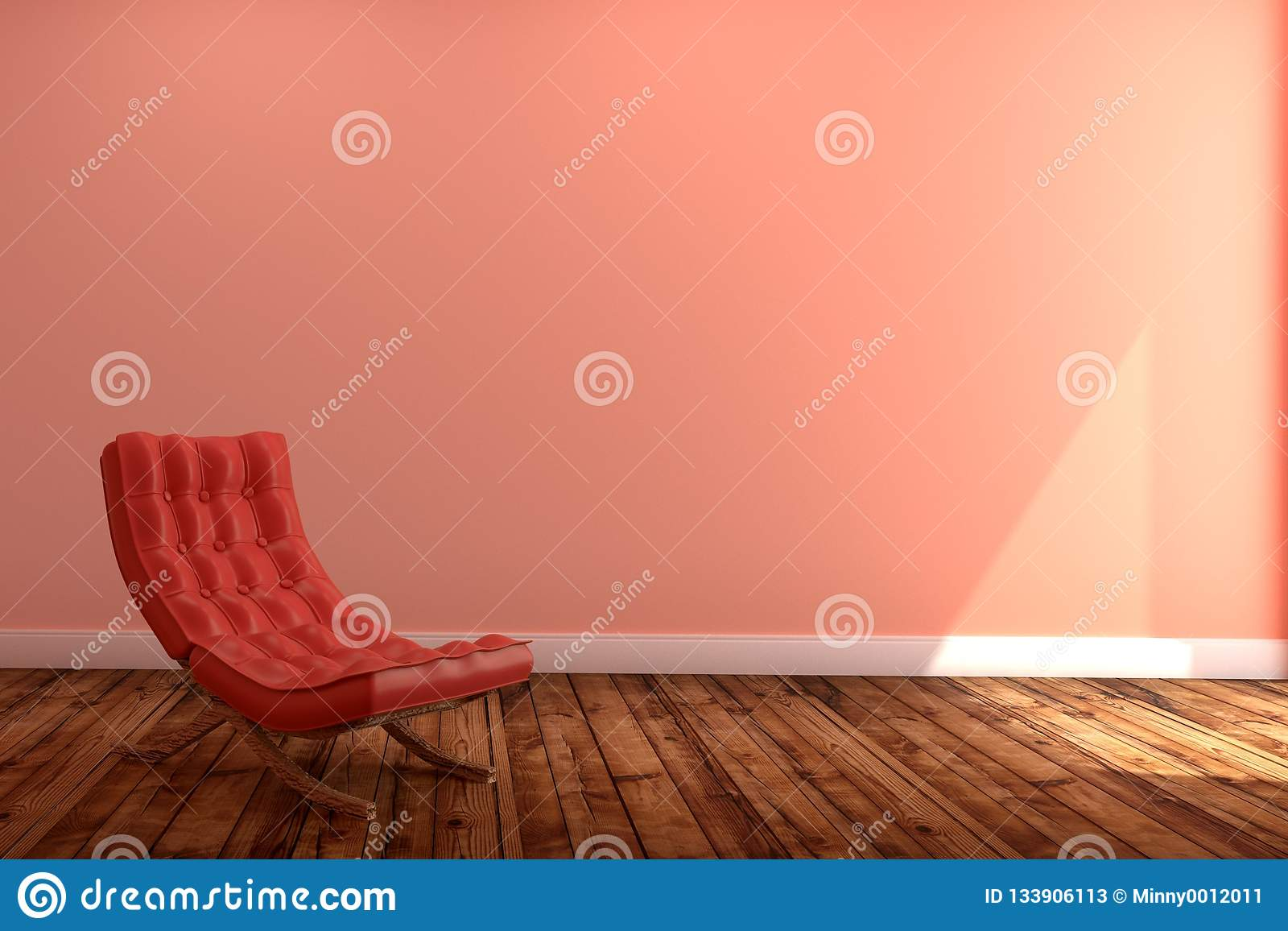 Living Room Interior With Red Sofa Wooden Floor On Empty Pink Wall Background 3d Rendering Stock Illustration Illustration Of Cabinet Apartment 133906113