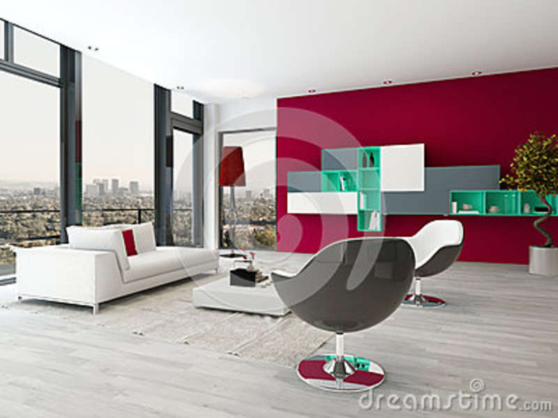 Living Room Interior With Red Wall And Modern Furniture ...