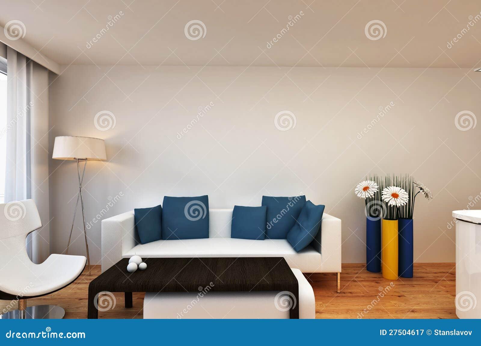 Living Room Interior Scene With Flowers Stock Illustration
