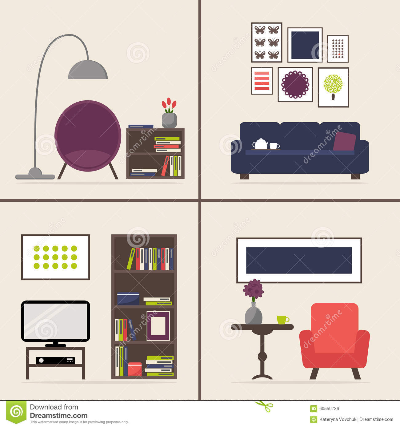 Furniture Ideas For Living Room Stock Vector: Living Room Interior Set With Four Pictures. Furniture