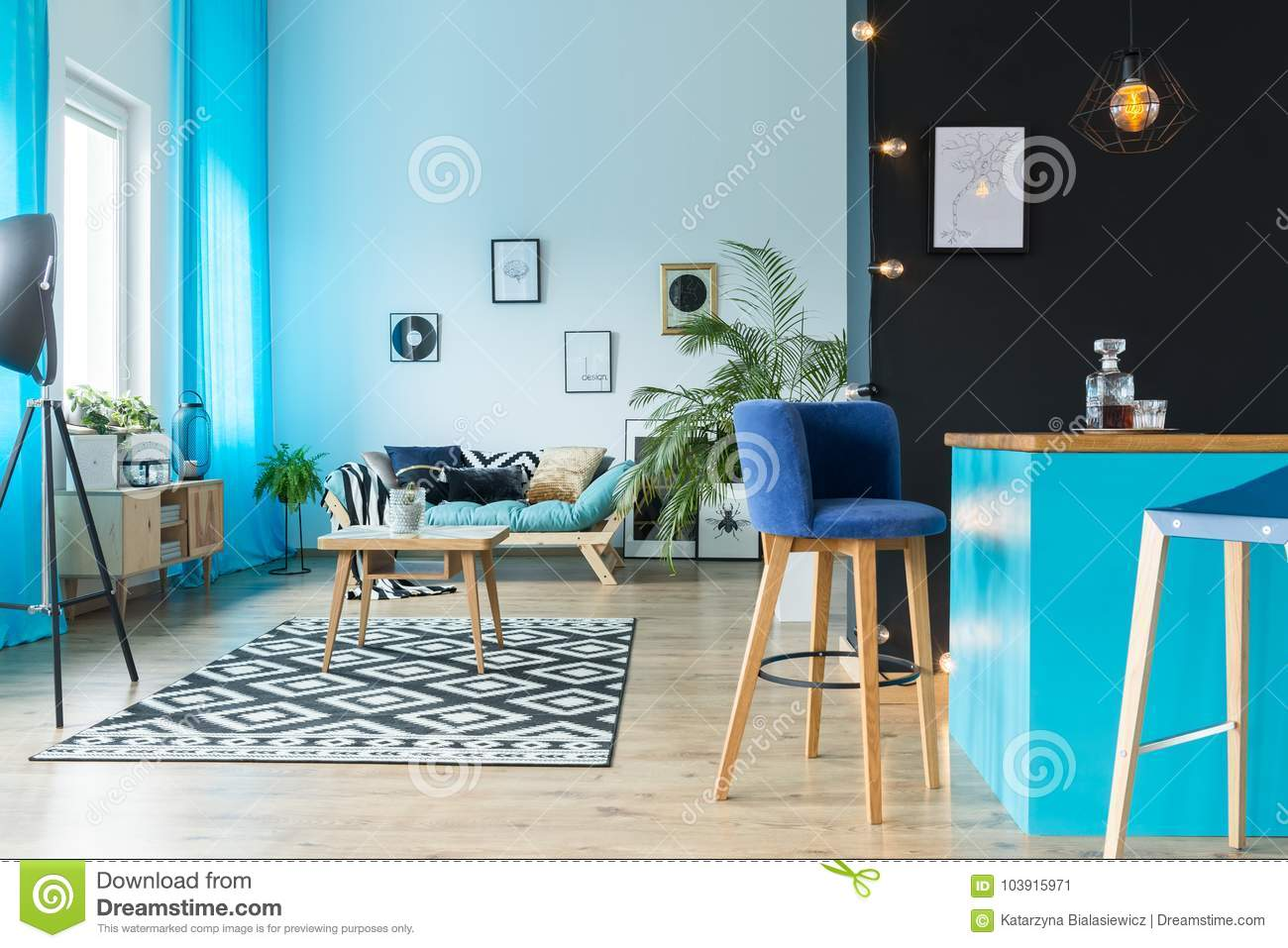 Living Room With Kitchen Annex Stock Image - Image of dining, black ...