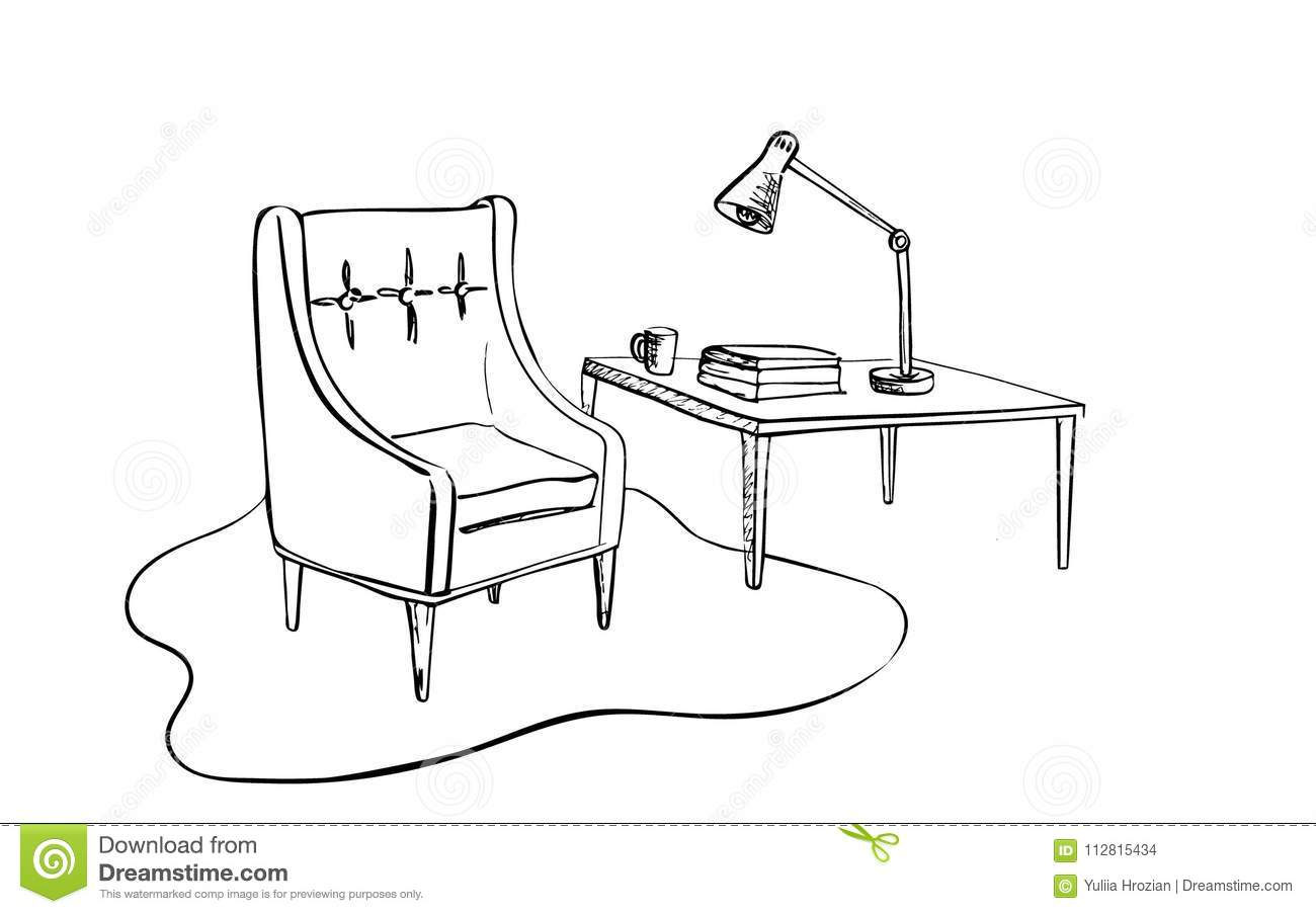 Living Room Interior Sketch: Cozy Armchair And Small Table