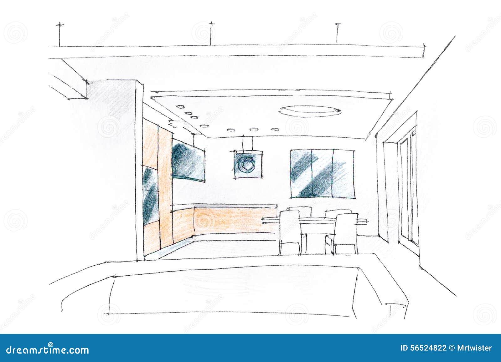 Living room interior sketch stock photo image 56524822 for Living room interior sketch