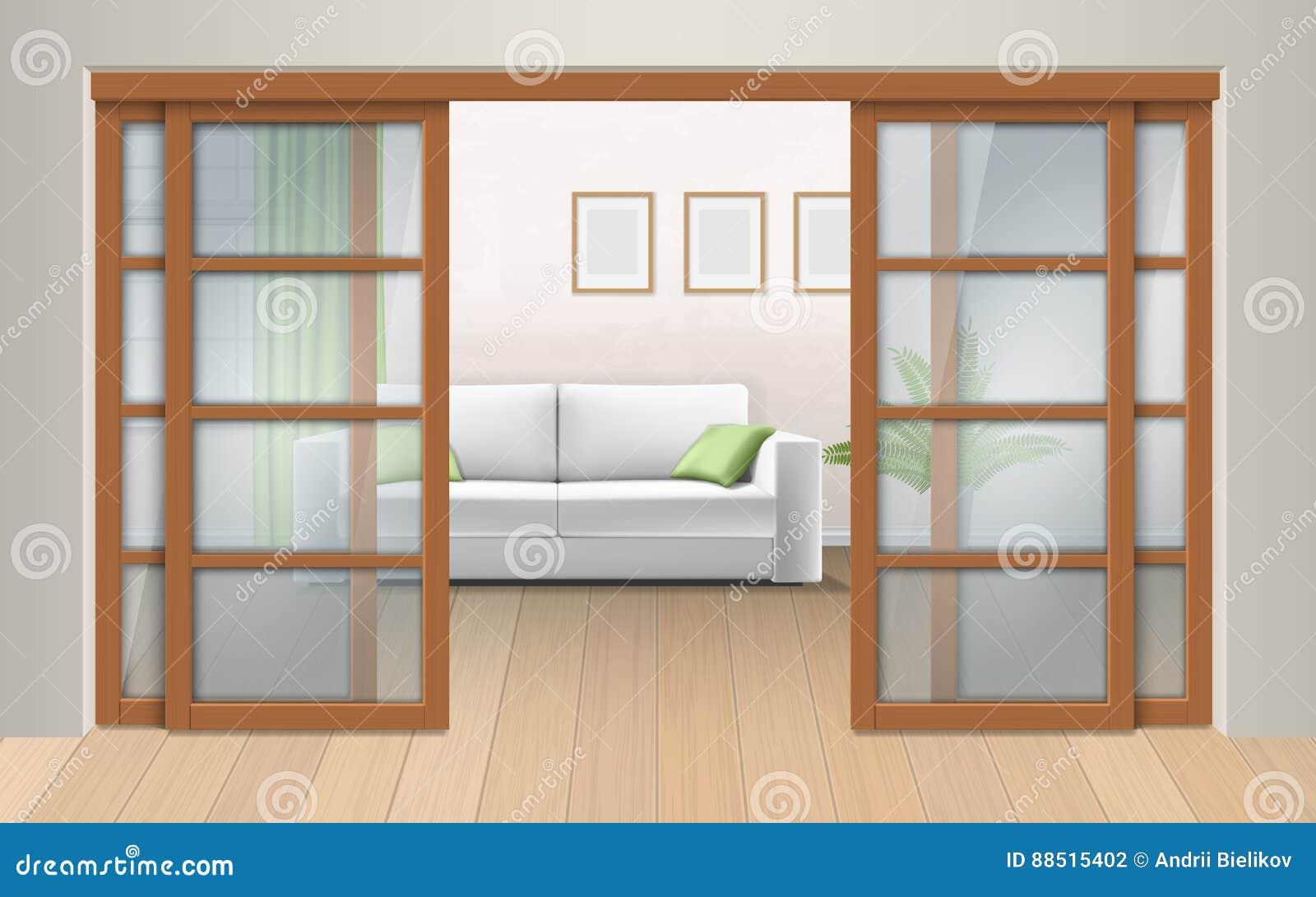 Living Room Interior With Sliding Doors Stock Vector Illustration