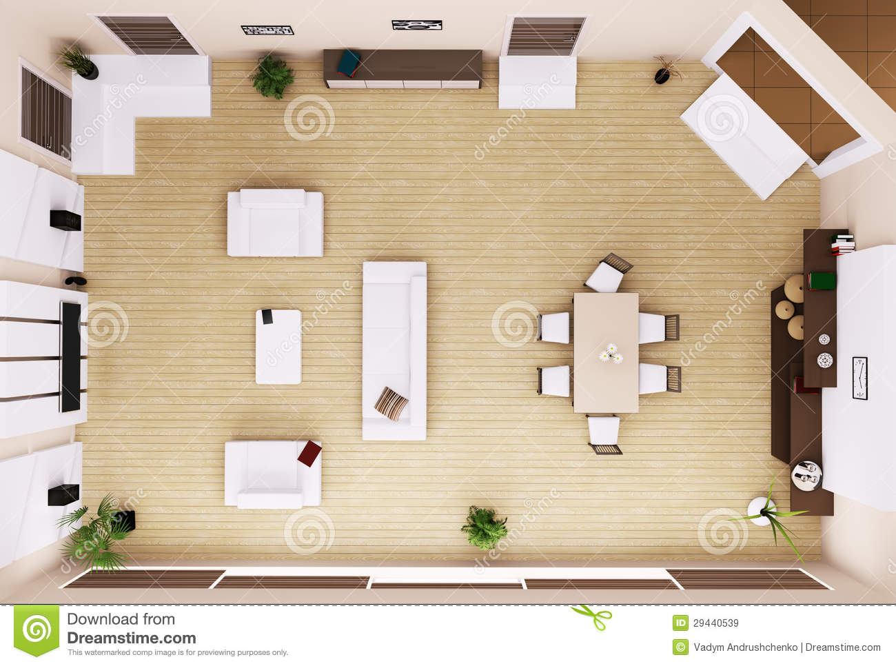 Living room interior top view 3d render royalty free stock for View house plans online