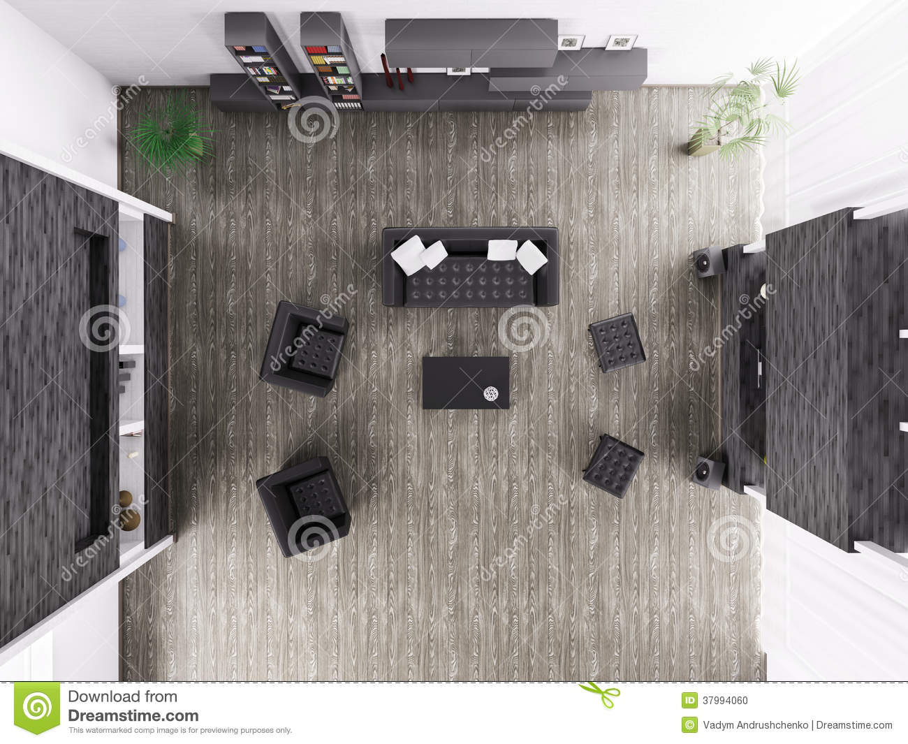 Living room interior top view 3d render stock photo for Living room 3d view