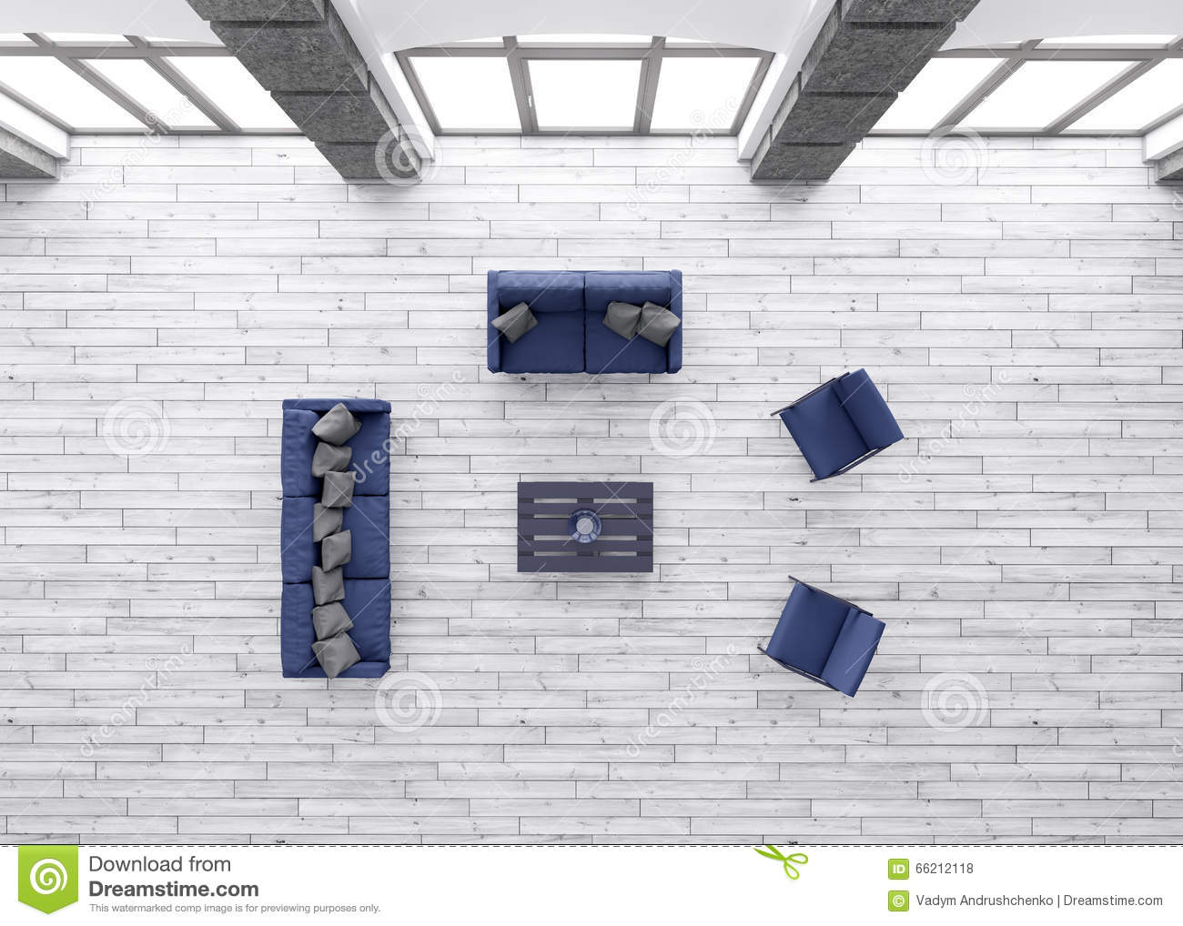 Living room interior top view 3d render stock illustration for Living room 3d view