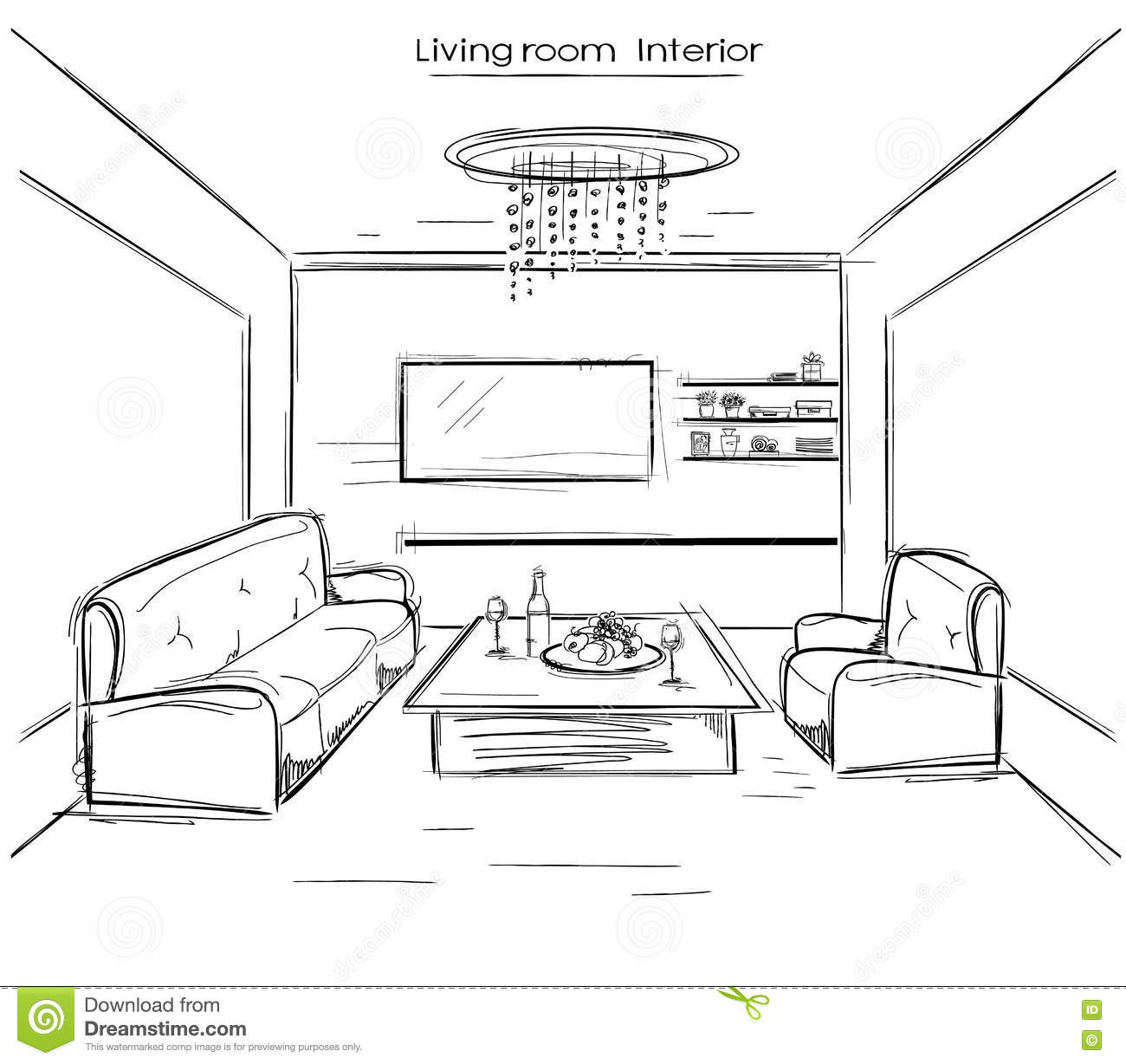 Living Room Interior.Vector Black Hand Drawing