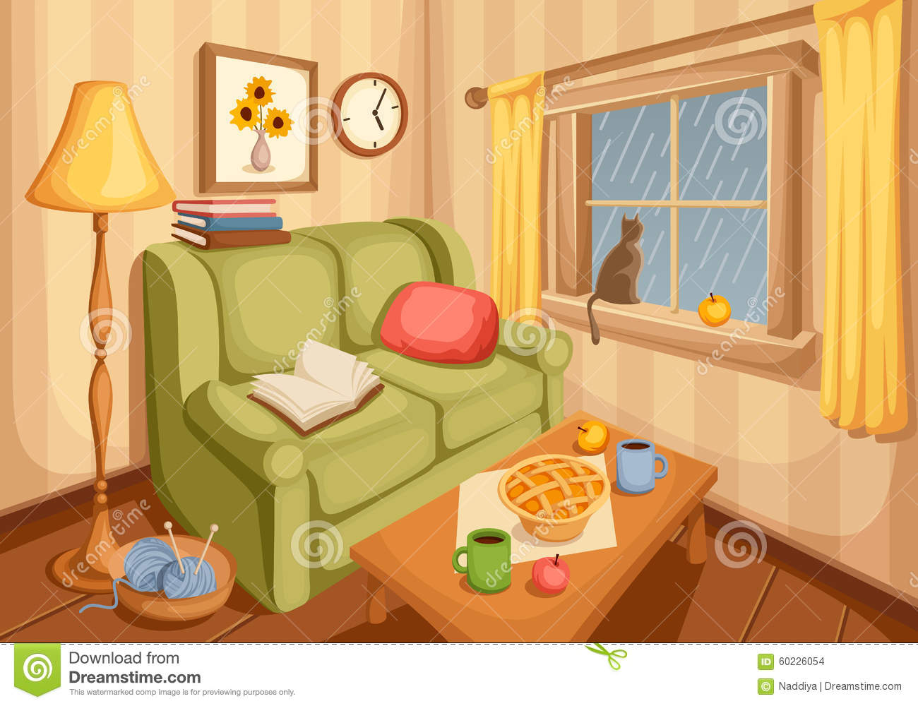 Living room interior vector illustration stock vector for Sala de estar animada