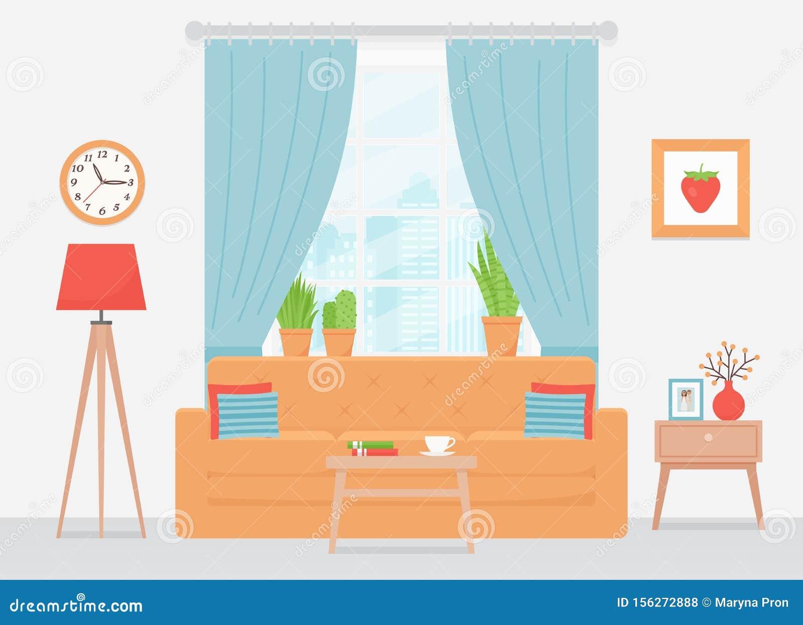 Living Room Interior Vector Illustration Flat Design Stock Vector Illustration Of Colorful Blue 156272888