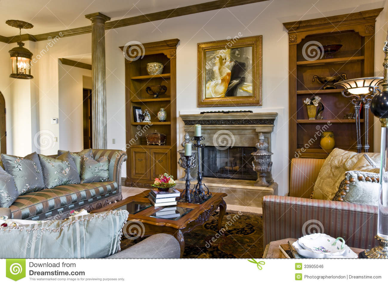 View Of An Old Fashioned Living Room Interior