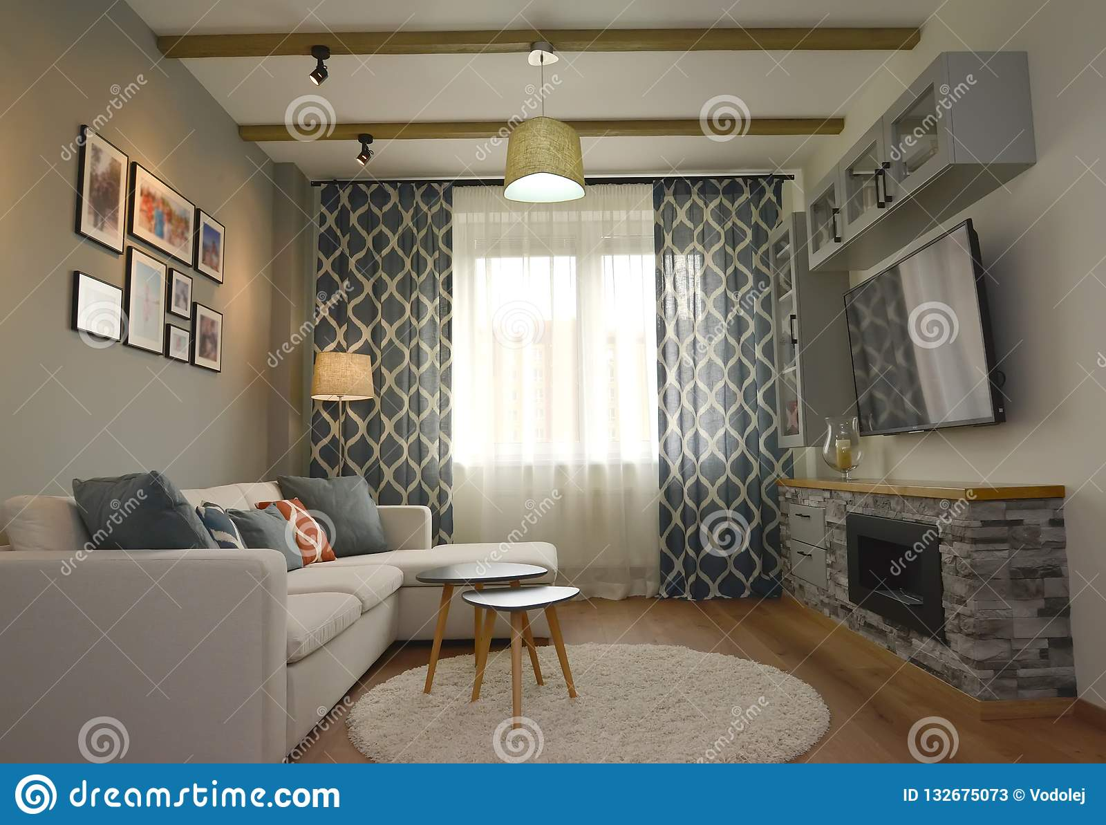 Living Room Interior With A Wall Fireplace Scandinavian Style Stock