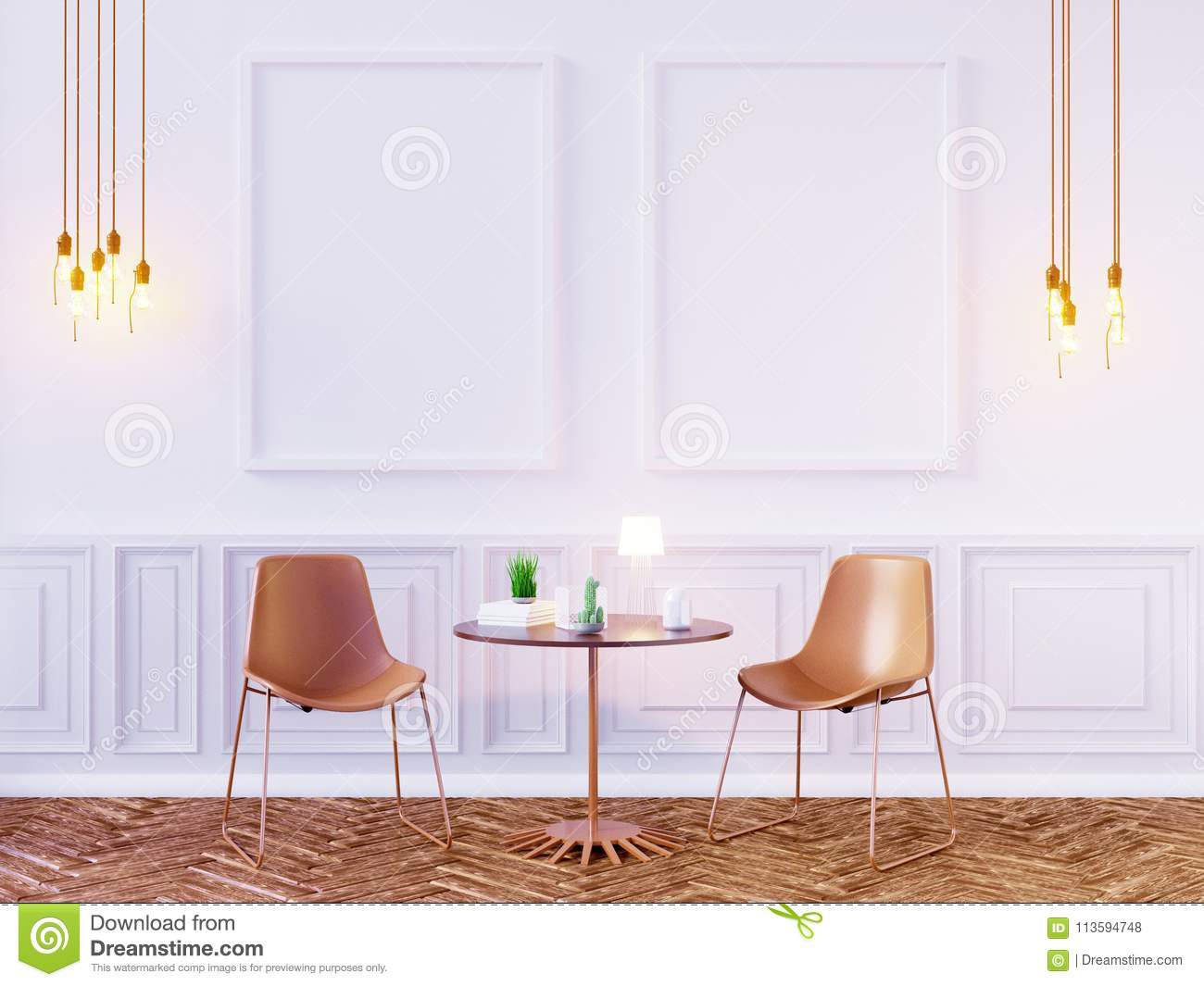 Living Room Interior Wall Mock Up On White Background 3d