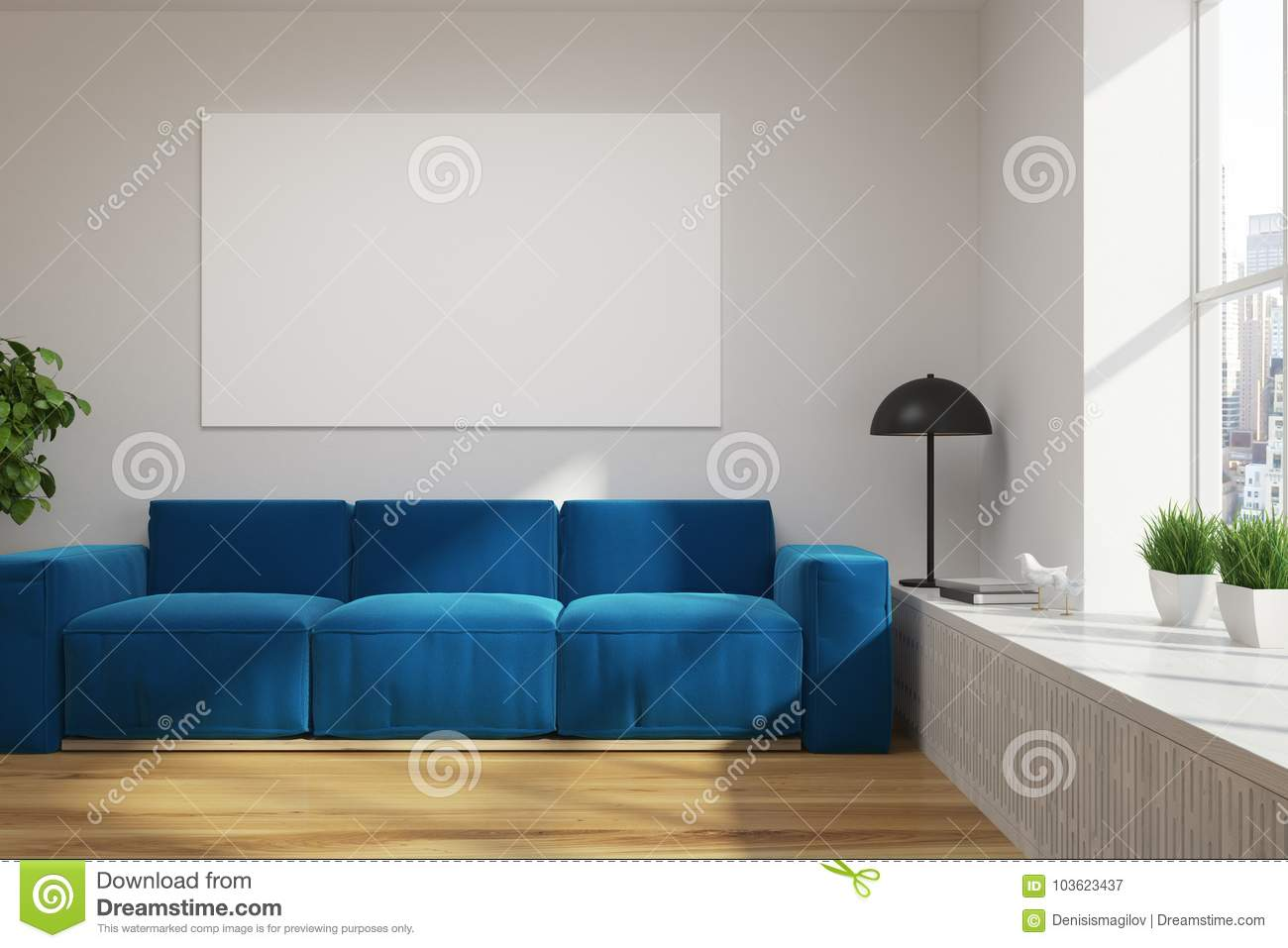 white loft living room blue sofa poster stock illustration