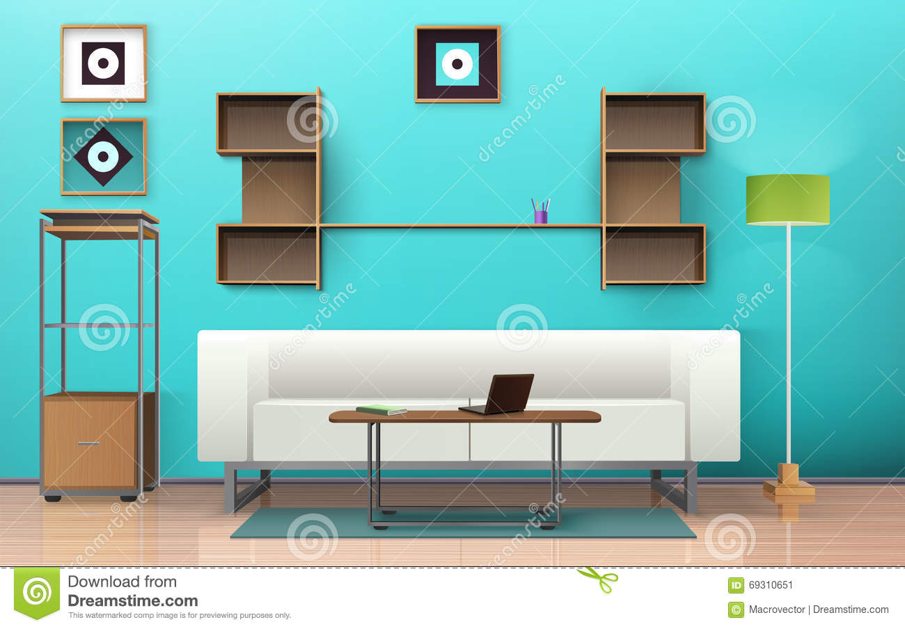 Living room isometric design stock vector image 69310651 for Interior design images vector