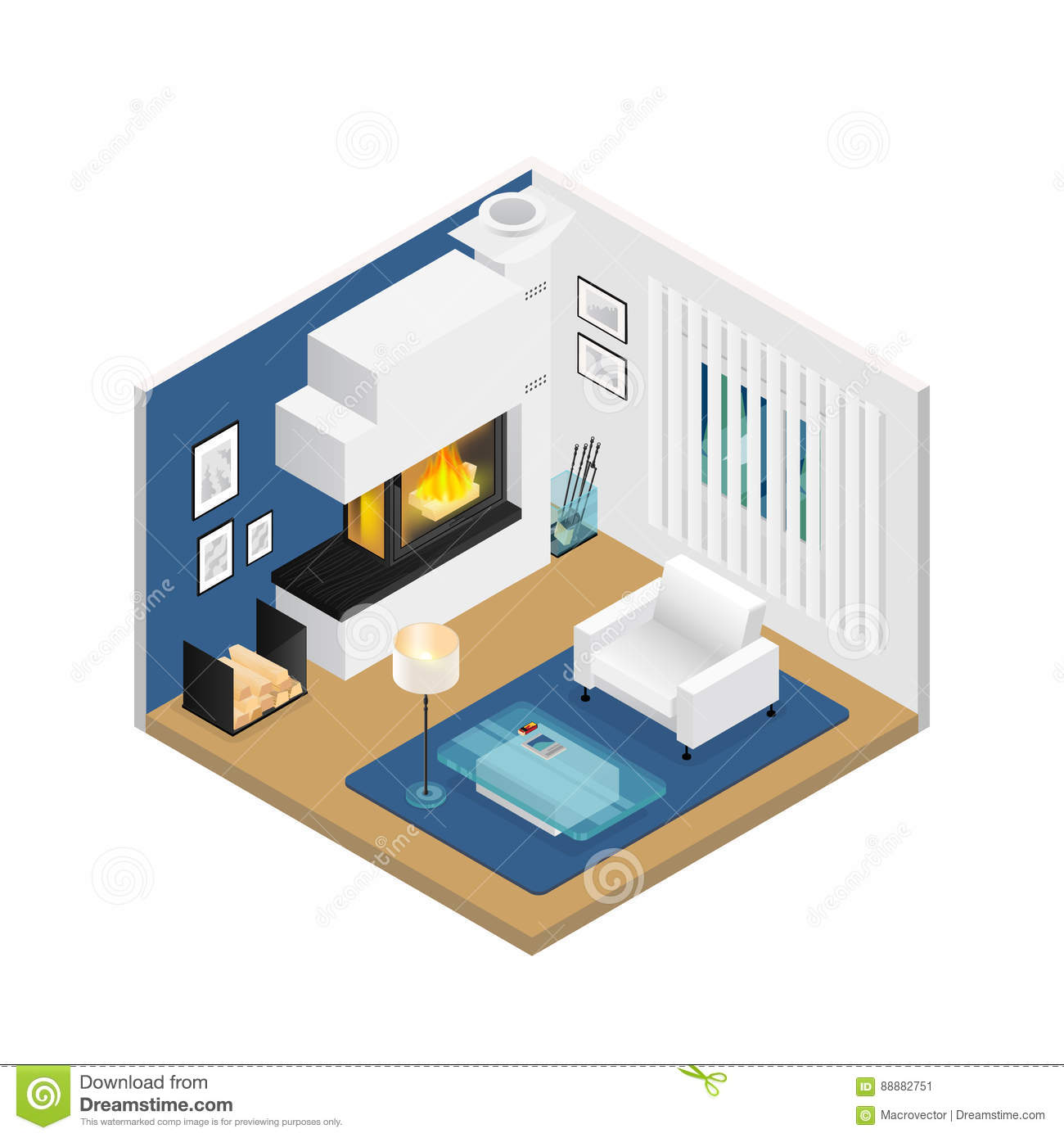 Living room isometric interior with fireplace stock vector for 15x15 living room