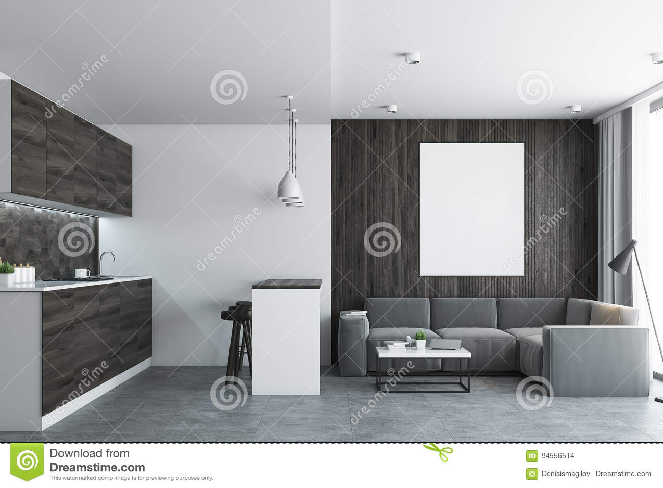 Living Room And Kitchen, Concrete Stock Illustration - Illustration ...