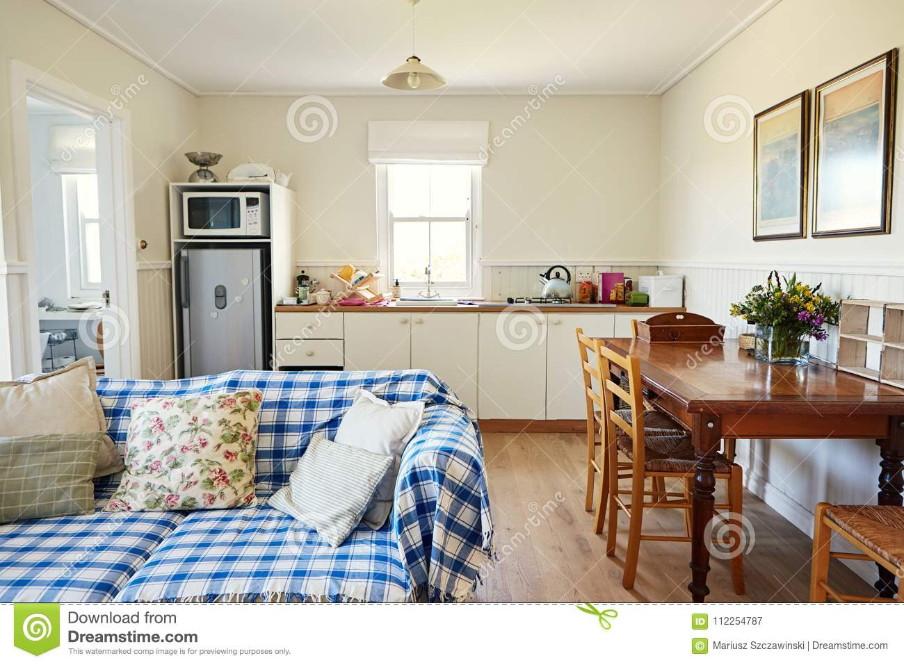 Living Room And Kitchen In A Small Country Home Stock Image ...
