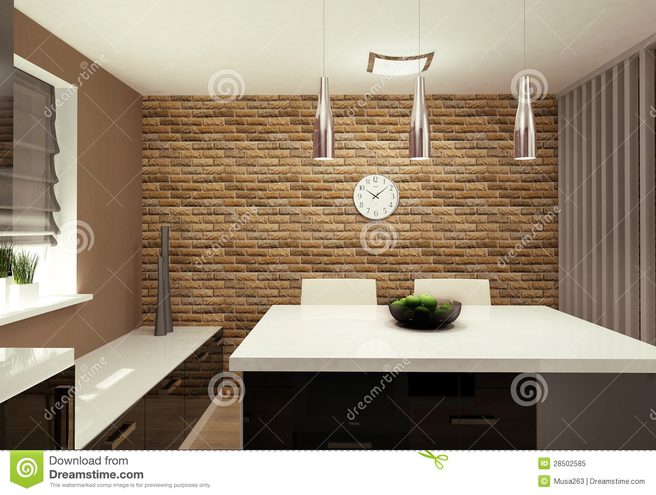 Living Room With Kitchenette Royalty Free Stock Photo