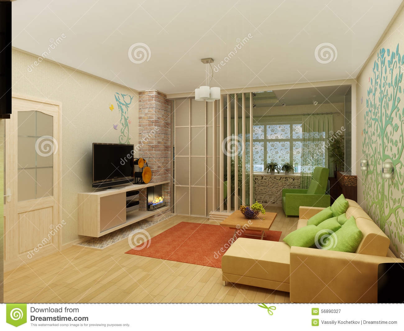Living room with landscape view 3d interior stock photo for Living room 3d view