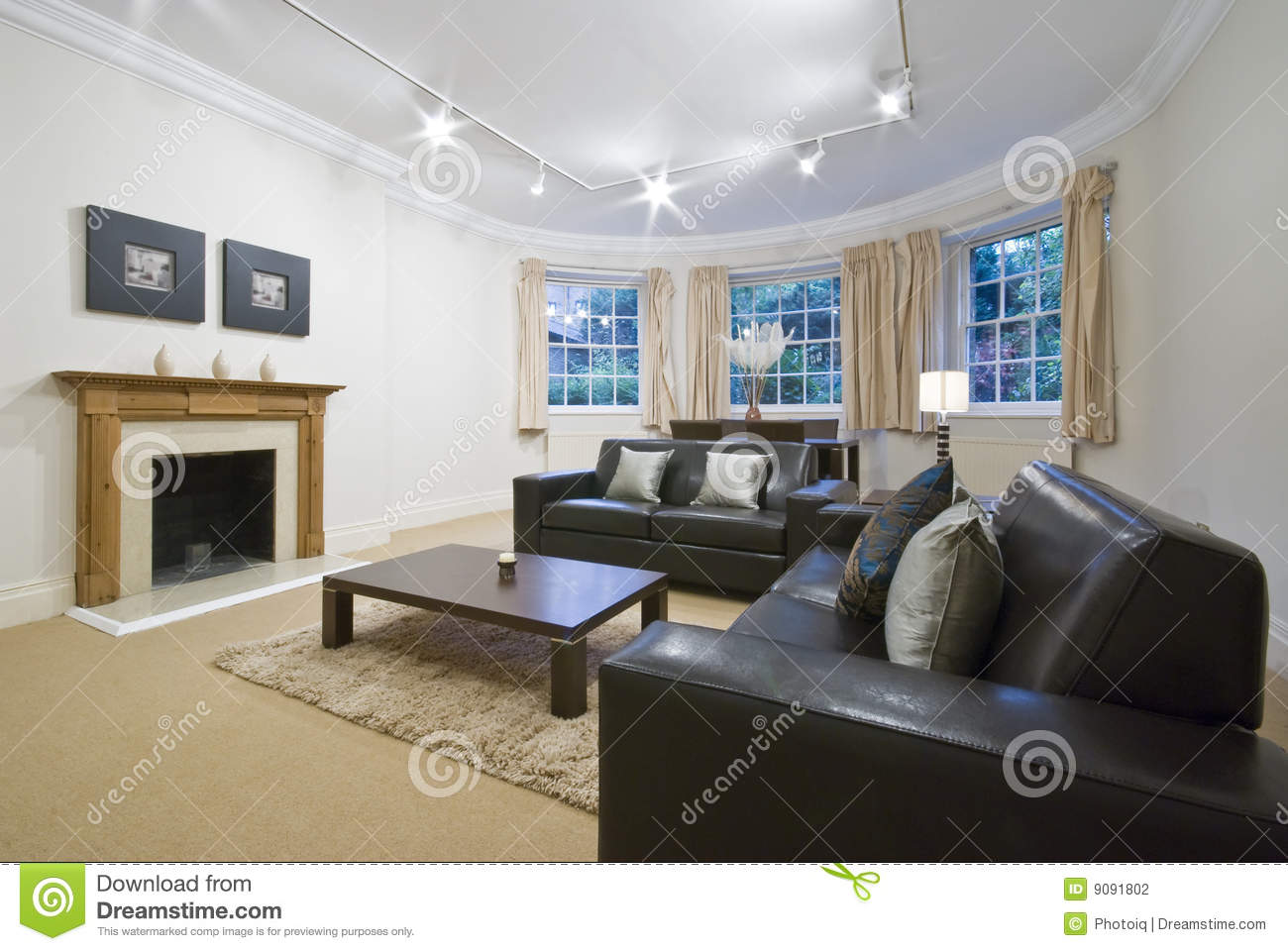 Living Room With Large Bay Window Stock Photography