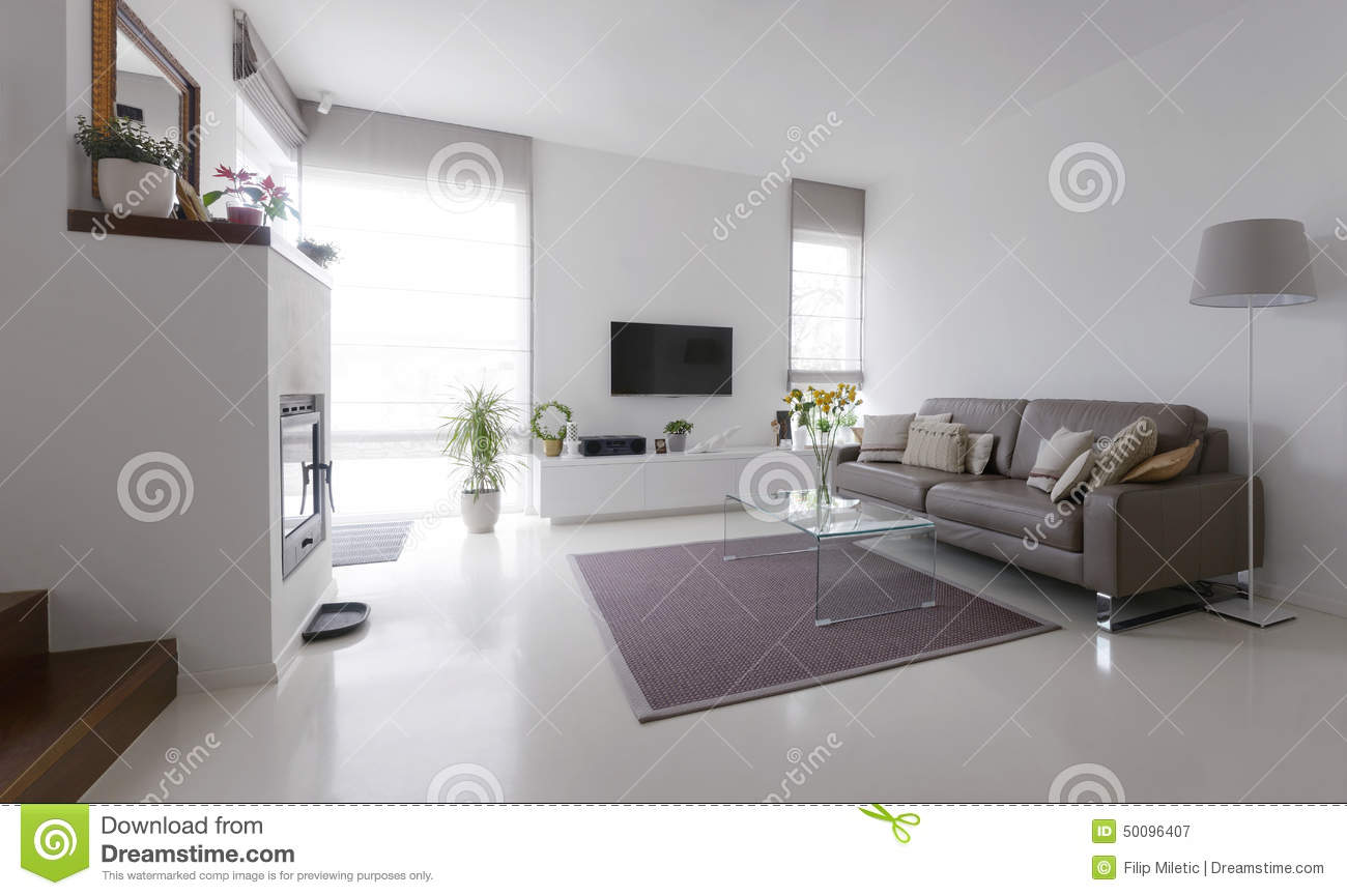 white living room with taupe sofa stock image 45394171. Black Bedroom Furniture Sets. Home Design Ideas