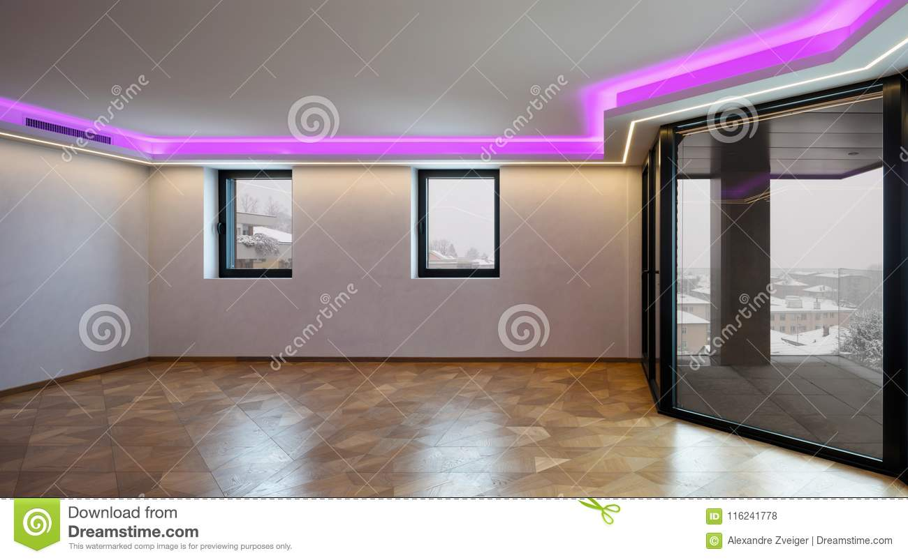Living Room With Led Lights Stock Photo Image Of Parquet Snow