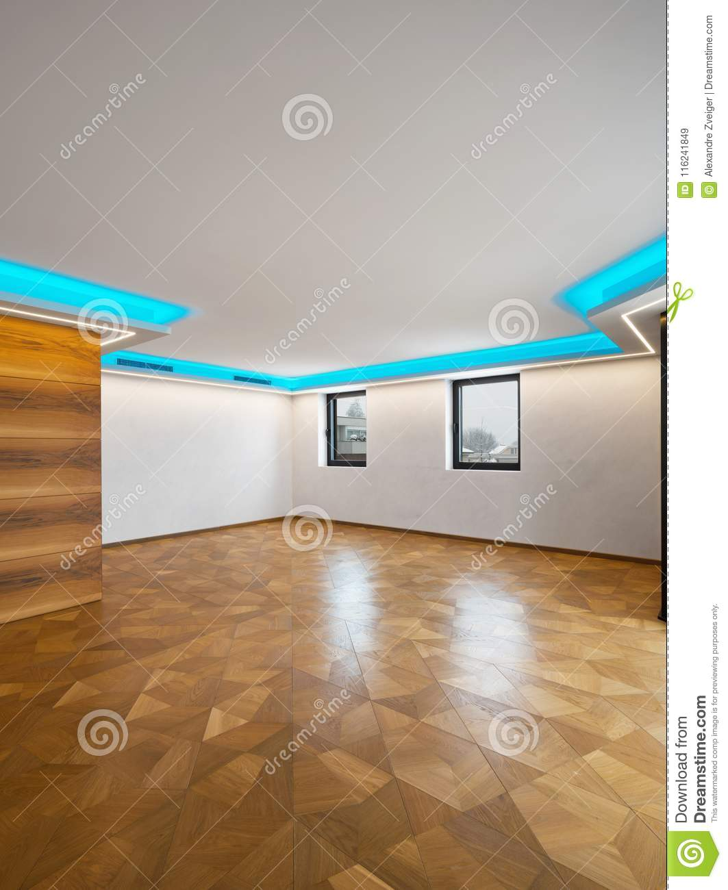 Living Room With Led Lights Stock Image Image Of Snow Wooden