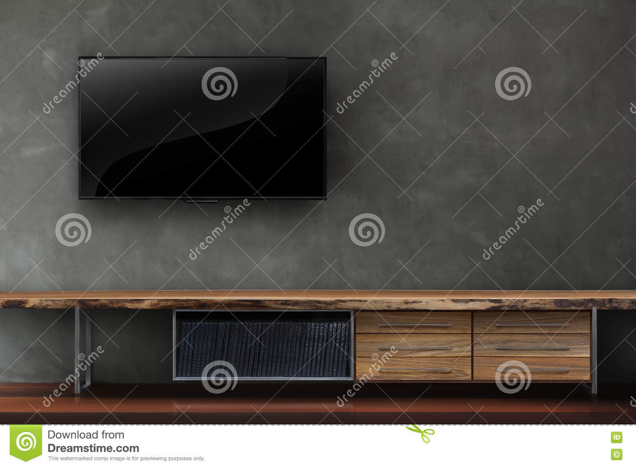 Living room led tv on concrete wall with wooden table media furn