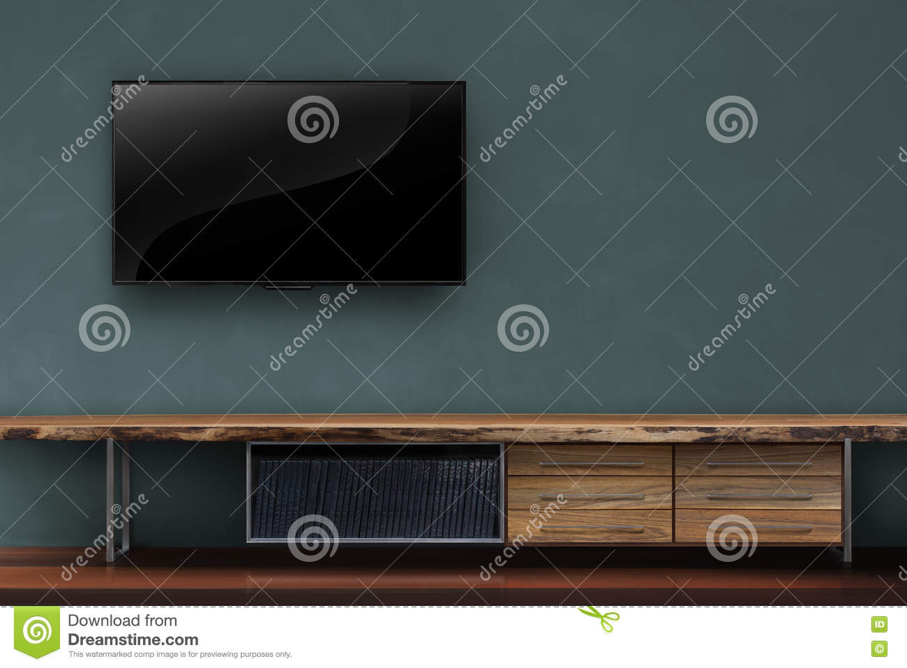 Living Room Led Tv On Dark Green Wall With Wooden Table Media