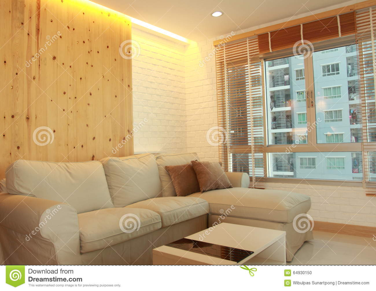 living room with light wood panel and hidden lighting stock photo image 64930150. Black Bedroom Furniture Sets. Home Design Ideas