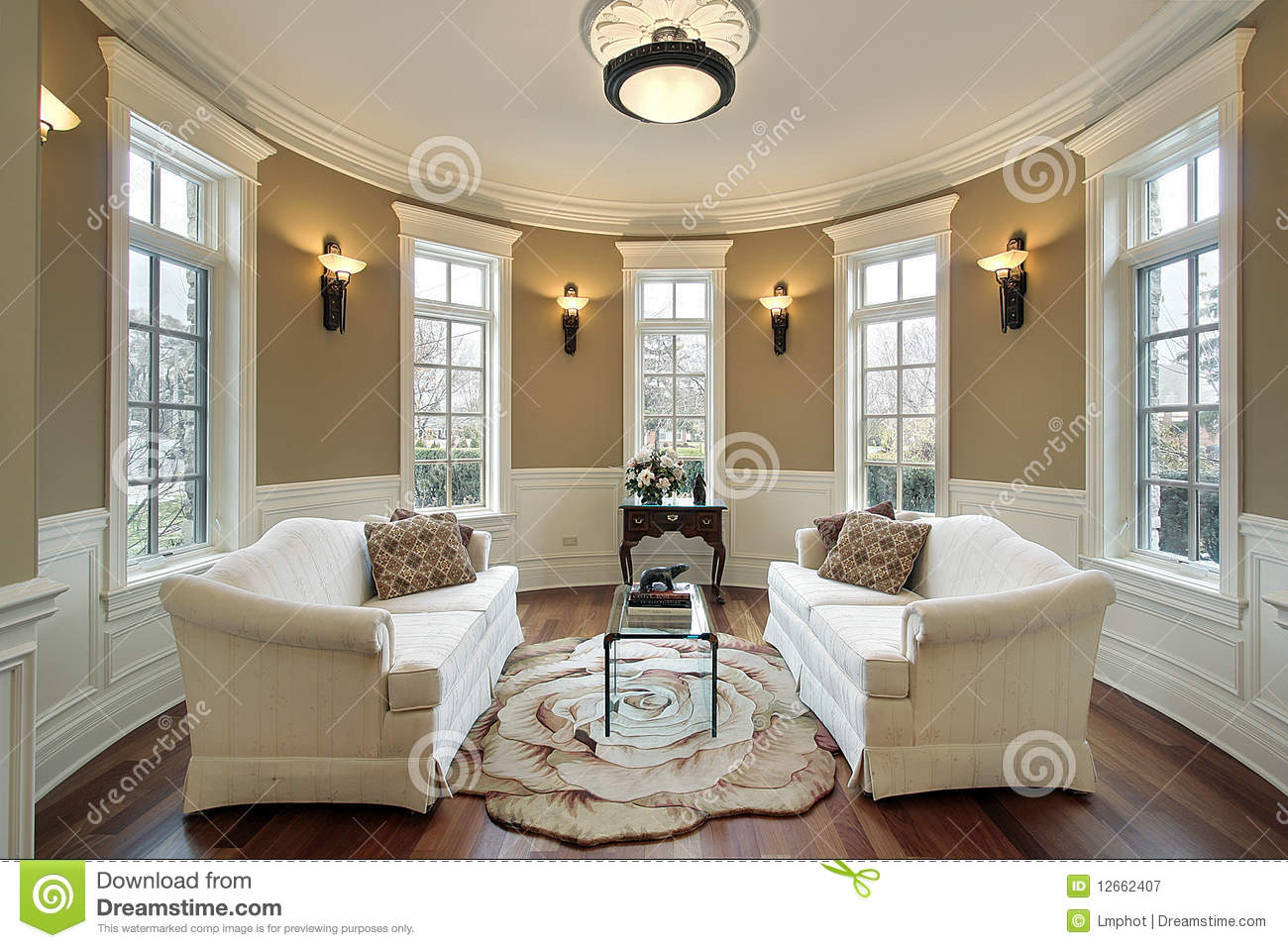 Living room with lighting scones stock image image of for Modern front room ideas