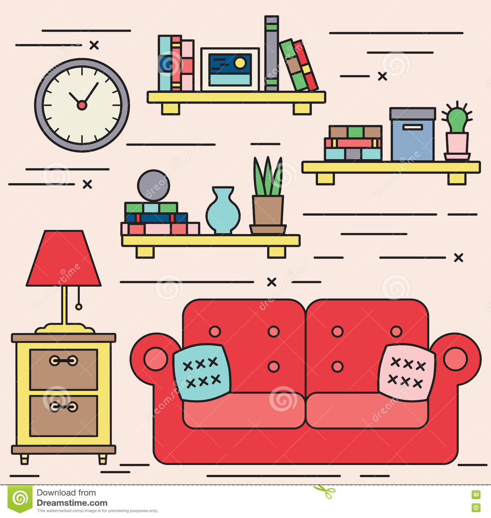 Living Room Line Art Illustration