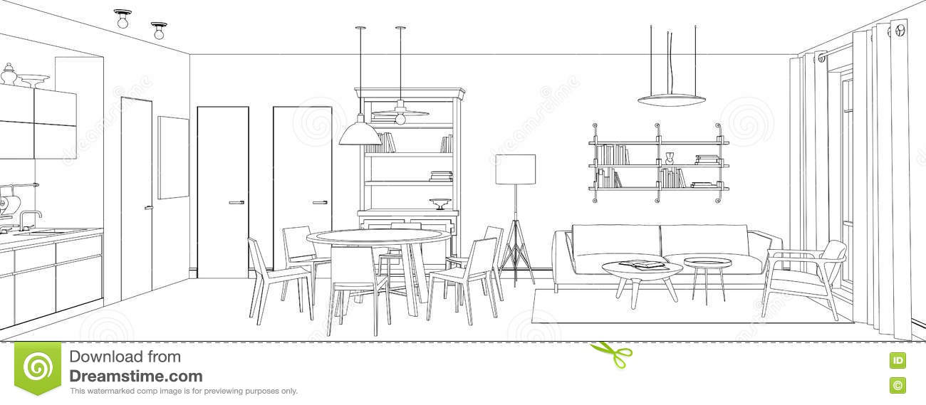 Line Drawing Room : Living room line drawing stock vector illustration of
