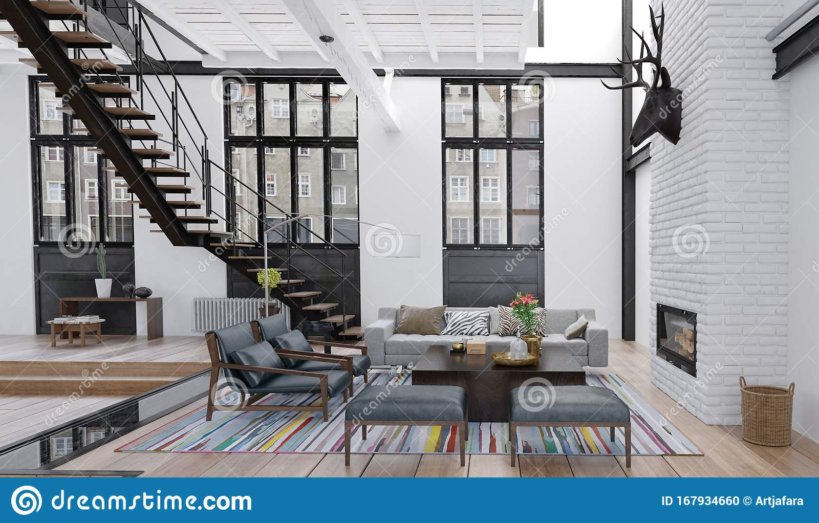 Living Room In Loft Apartment Industrial Interior 3d Illustration Ill Stock Illustration Illustration Of Large Farm 167934660