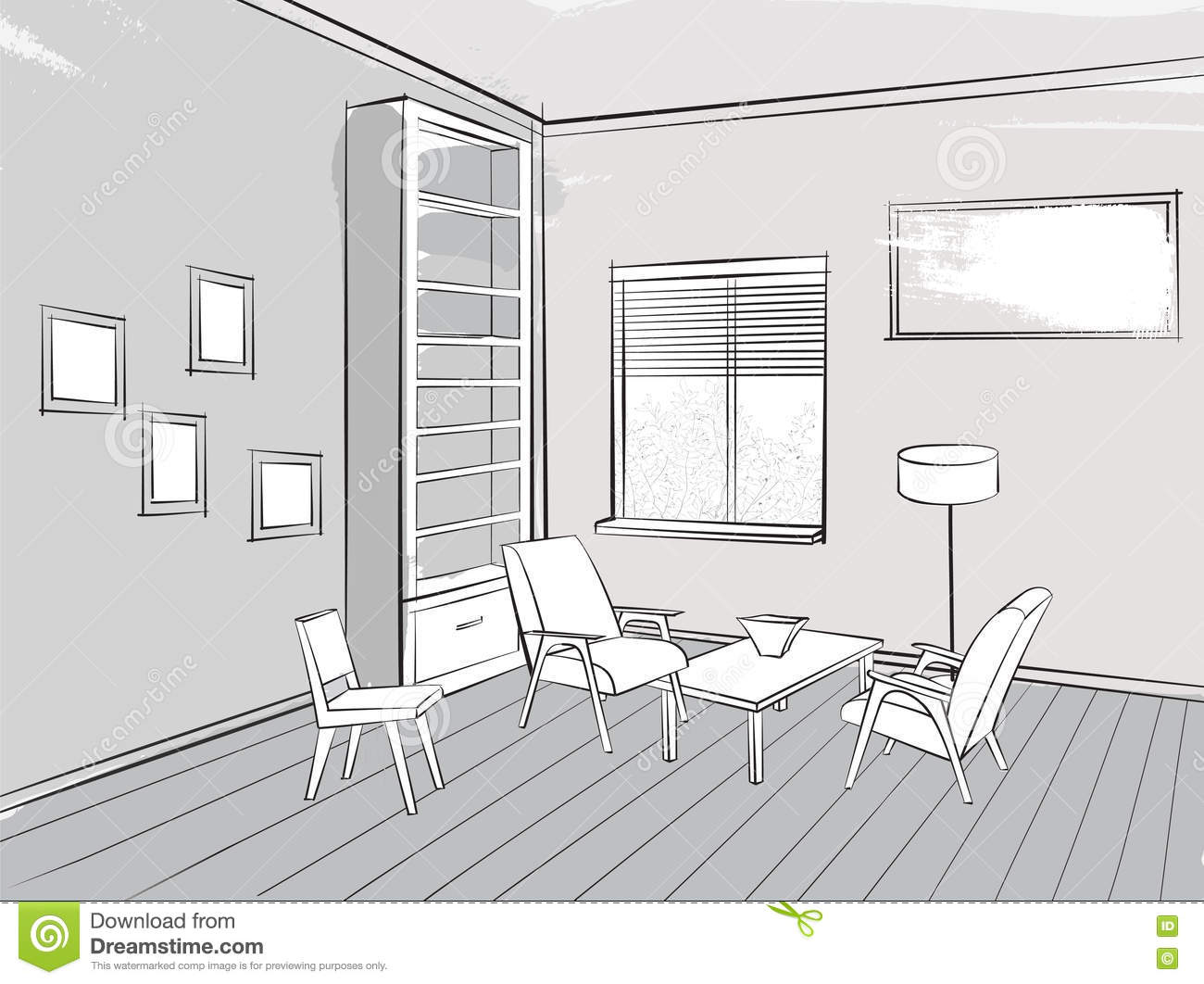 Living Room Lounge Interior Sketch Place For Reading With Armcha