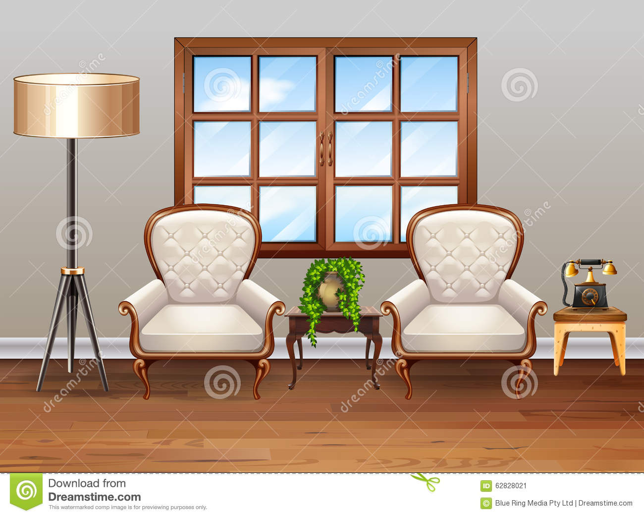 living room with luxury armchairs stock vector image